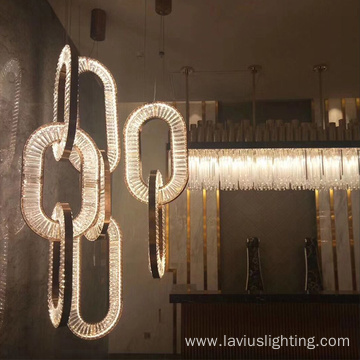 Dining room iron crystal led pendant light
