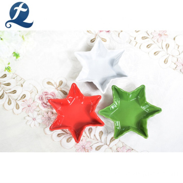 Hot sale cheap color dinner custom stars shape ceramic plates dishes