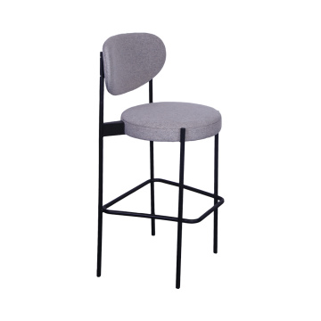 Modern Stainless Steel Bar Chair with Fabric Seat