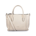 Lady Simple Cow Leather Beige Tote Shopper Bags