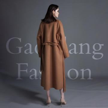 Dark brown double-sided cashmere coat