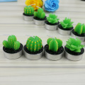 Green cactus shape candle wax art candles