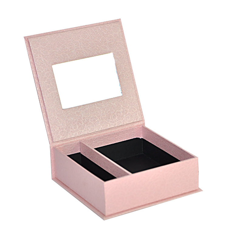 Customized Pink Color Hinged Lid Rigid Shoulder Box