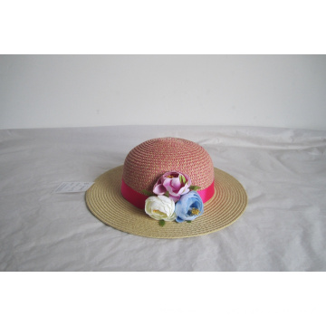 Children Floppy  Hat Trimmed With Faux Rose