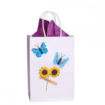 Custom 100% Recycled White Kraft Paper Bag