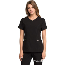 Women's V-Neck Scrub Top Zipper closure