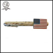 Custom US flag tie clips chain