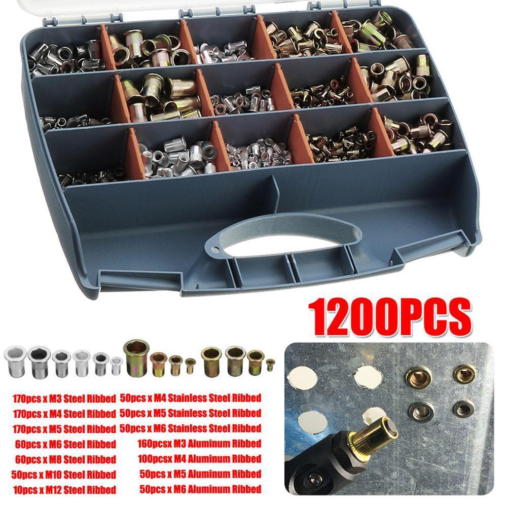 ALLSOME 1200Pcs M3 M4 M5 M6 M8 M10 M12 Stainless Steel Rivet Nuts Nutsert Rivnut Rivet Nutsert Tool Kit HT2824