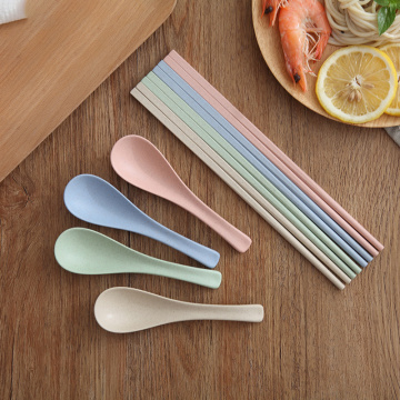 Colorful Biodegradable Reusable Wheat Round Plastic Spoon
