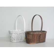 Oval wood bark flower basket