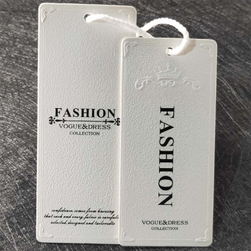 Clothing paper hang relief embossing tag with string