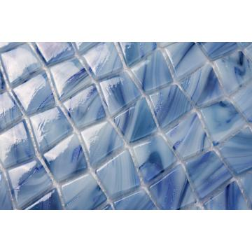 Living Room Blue Powder Pattern Glass Mosaic Tiles