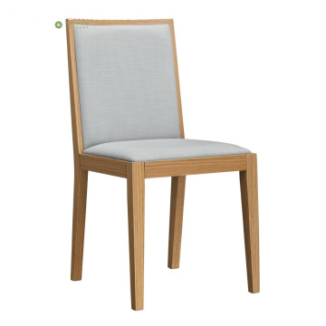 Solid Wood Dining Chair na may Grey na Tela ng Kusina
