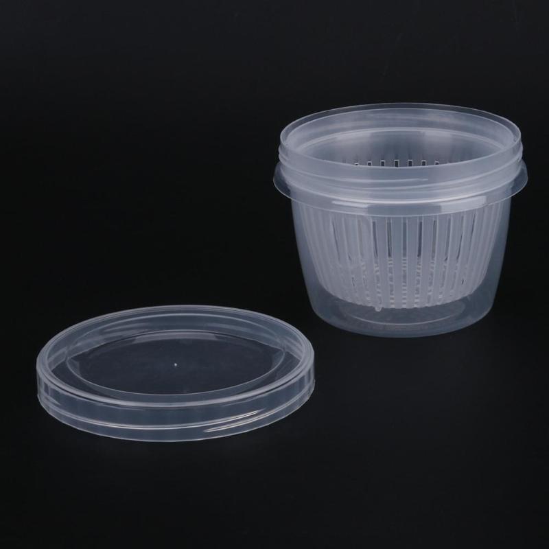 Round Drain Sealed Box Ginger Garlic Onion Food Container Refrigerator Storage Box Screw Cover Kitchen Organizer