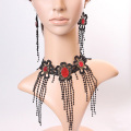 Ethnic Style Lace Necklace With Resin Rhinestone Necklace