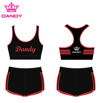 Striped Black Cheer Practice Outfits For Sale