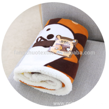 cartoon printed microfiber knee throw sherpa blanket