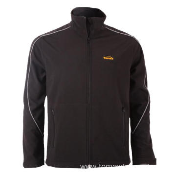 Black with reflective piping Softshell Jacket
