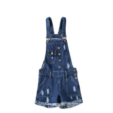 Button Pocket Revers Jeans Shorts Suspender Trouser Ladies Jumpsuit
