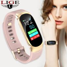 LIGE Women Sport Smart Bracelet Men LED Waterproof SmartWatch Heart Rate Blood Pressure Pedometer Clock Watch For Android iOS