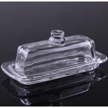 Clear Crystal glass  Butter Dish With Lid