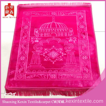 Polyester embossed mink flush fleece prayer mat