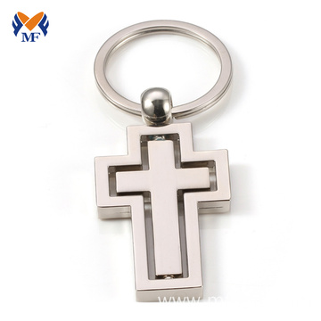 Metal cross keychain mockup