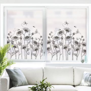 45x90CM Window Privacy Film Stained Glass Sticker for Bedroom Bathroom Window Film Home Decor Tree Dandelion Flowers Black Plant