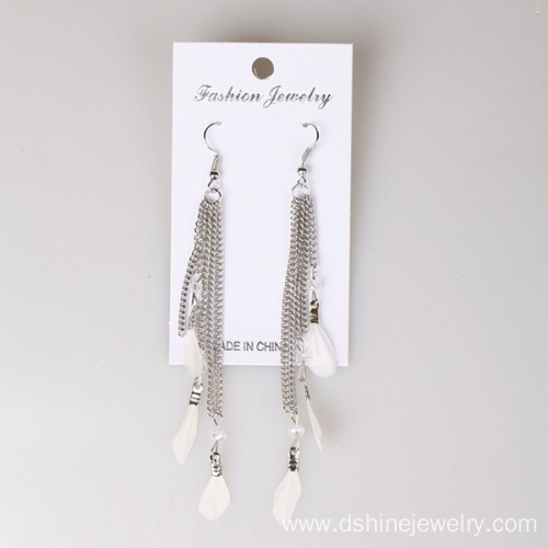 Tiny Feather Alloy Chain Tassel Feather Earrings For Lady
