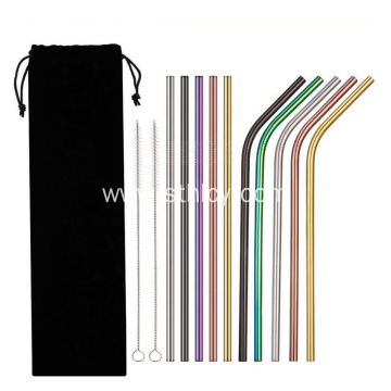 Multicolor Straight Stainless Steel 304 Metal Straw