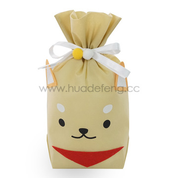 Yellow Non-woven Dog Daily Drawstring Gift Packing Bag