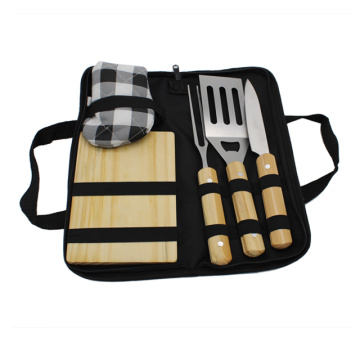 5 pieces BBQ Accessories With Wooden Cutting Board