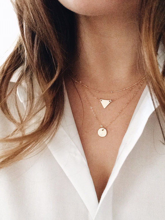 Gold Tiny Plate Chain Necklace
