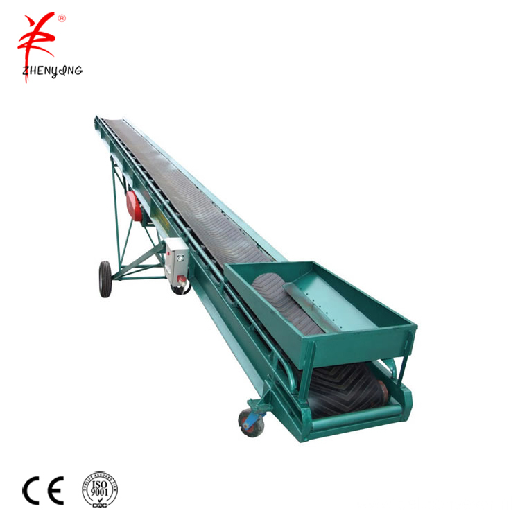 Portable grain rubber belt conveyor