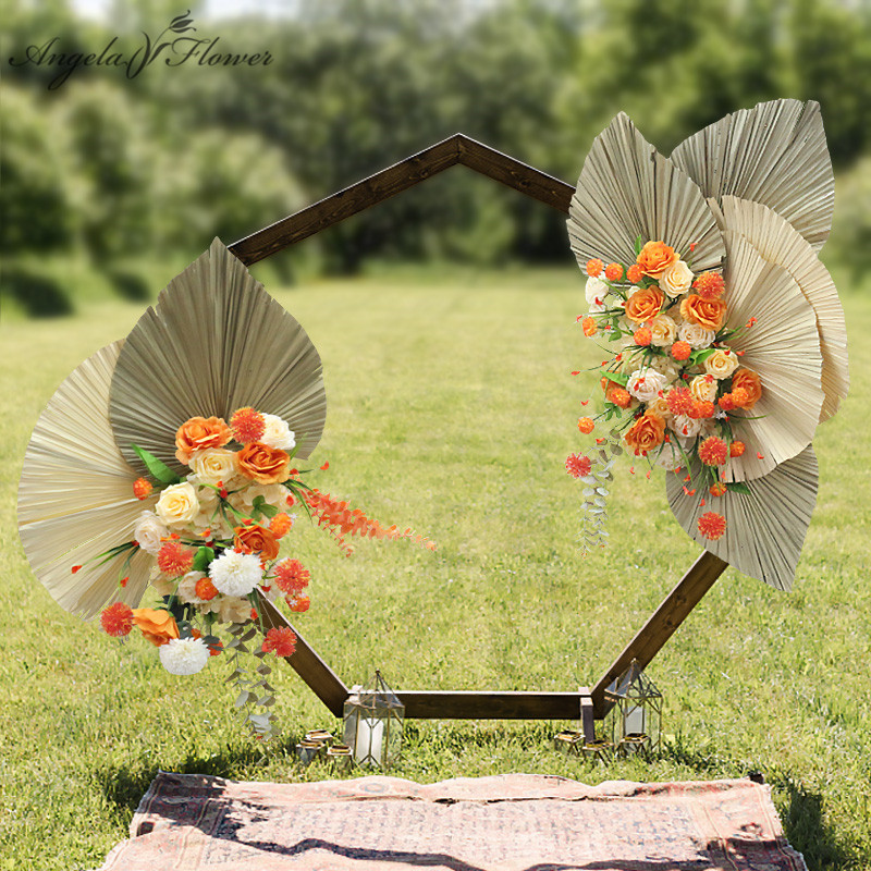 Custom Corner Flower Runner Natural Dried Plants Pampas Grass Wedding Arch Decor Flower Arrangement Wall Event Layout Flower Row