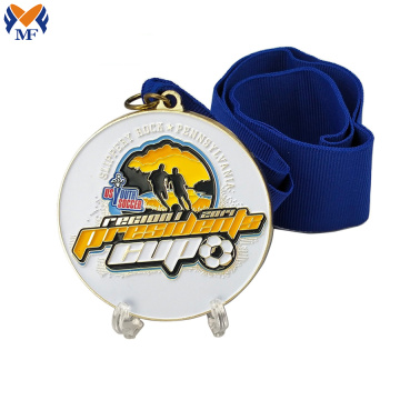 Custom metal soccer medals whole sale with ribbon
