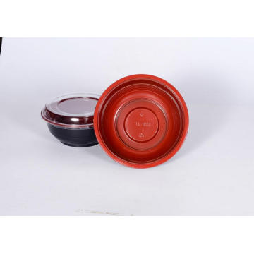 700ml Disposable Plastic Black and Red  Bowl