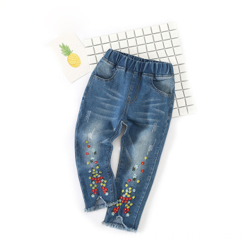 Embroidery Designs Fringed Blue Cotton Jeans for Children