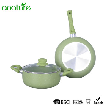 Green Marble Induction Bottom 3Pcs Cookware Set