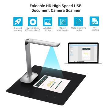 Aibecy F50 Foldable HD USB Book Document Camera Scanner 15 Mega-Pixels A3 & A4 Foot Pedal LED Light AI Technology Scanner
