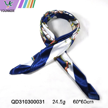 LOYAL BLUE PRINTING SATIN SCARF