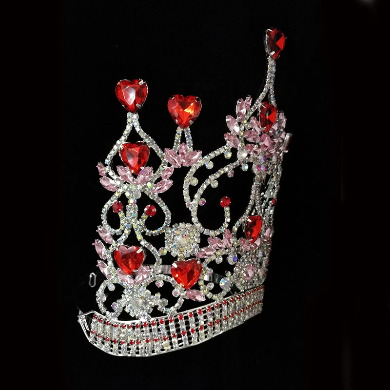 Red Heart Tiara Rhinestone Pageant Crown