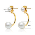 Small simple gold double pearl stud earrings