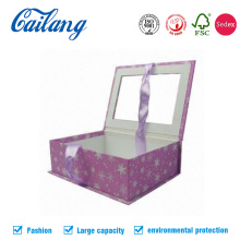 Custom Printed Book Shape Window Box with Ribbon