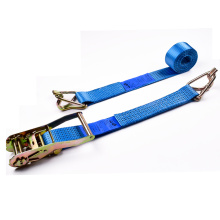"2"" 5 Ton 50mm Iron Handle Ratchet Buckle Tie Down Blue Straps With 2 Inch Swan Hooks"