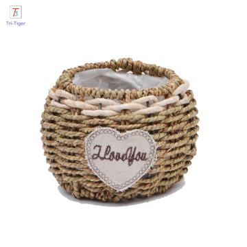 cheap home organizer decor handmade woven basket flowers basket with pvc bag