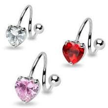 Heart Gem Spiral Rings Navel Twist Barbell