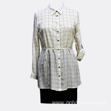 Ladies Viscose Casual Long Sleeves Belt Blouse
