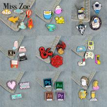 3~6pcs/set Game Girl Enamel Pins Video Game Software Custom Mug Brooches Bag Clothes Lapel Pin Badge Cartoon Animal Jewelry Gift