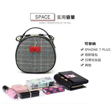 Lovely Cherry Houndstooth Round Shape Small Sling Bag